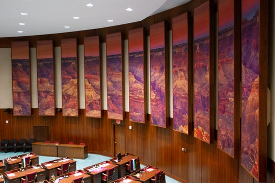 The Arizona House of Representatives has installed a large panoramic photo depicting the Grand Canyon as seen on Oct. 7, 2019.
