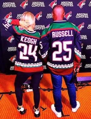 J Russell wears the number 25 on his Arizona Coyotes jersey to honor Willie O'Ree, the first black player in the NHL.