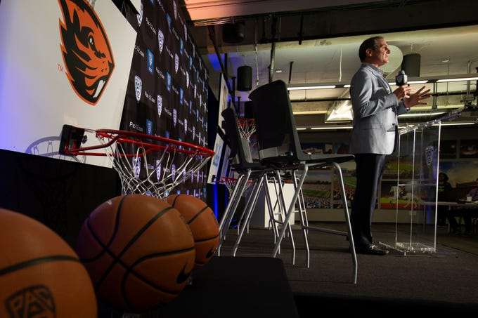 Commissioner Larry Scott speaks during the Pac-12 NCAA college basketball media day, in San Francisco, Tuesday, Oct. 8, 2019.