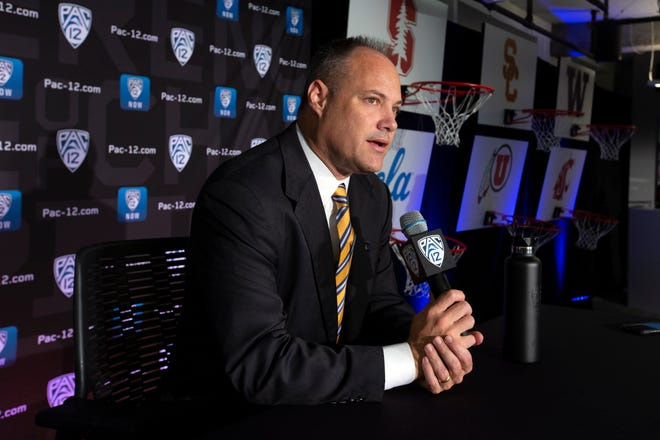 California head coach Mark Fox speaks during the Pac-12 NCAA college basketball media day Tuesday, Oct. 8, 2019 in San Francisco.