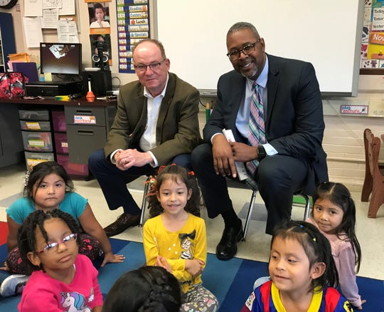 City of Poughkeepsie Mayor Rob Rolison and Poughkeepsie Superintendent Eric Rosser visit students at the Early Learning Center on Monday.