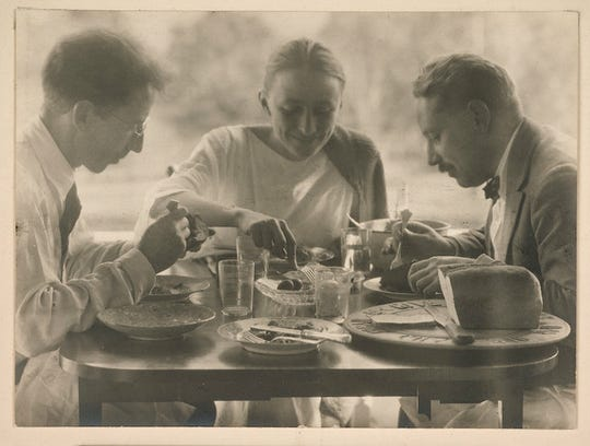 "Alfred Stieglitz, American (1864–1946), ""Luncheon at Lake George, 1920."" Gelatin silver print. Gift of Mrs. Arthur Schwab (Edna Bryner, class of 1907)."