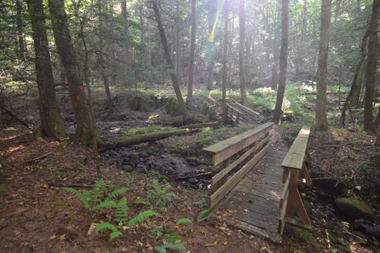 The bridge takes hikers over the low-lying wetland area on the path to Stone Man Mountain.