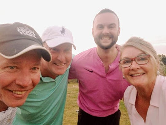 Jon Strathmeyer, second from left, is shown after making a hole-in-one on the 290-yard, par-4 fourth hole at Bridgewater Golf Club. Strathemeyer is shown with his playing partners, Erick Harman, left, Rob Wingard, second from right, and Strathmeyer's wife, Karen, at right.