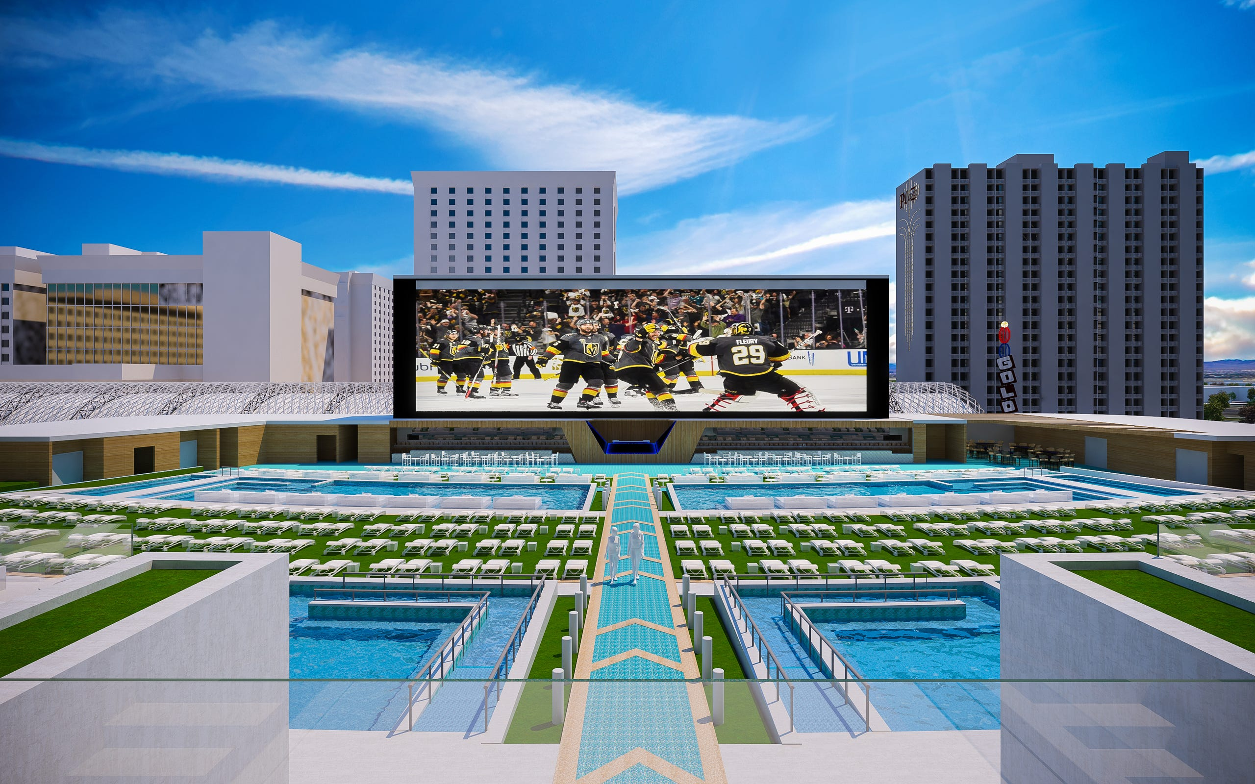 Circa will feature a multi-tiered pool amphitheater with several pools and a massive screen to generate a watch-party atmosphere for sports fans.