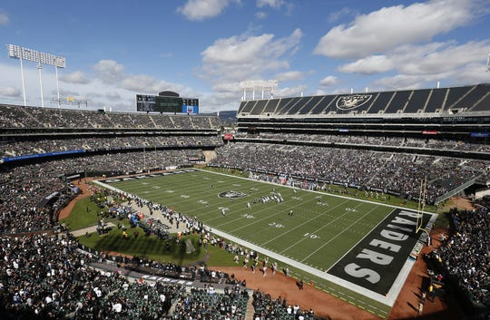 In this Oct. 28, 2018, file photo, fans watch during the first half of an NFL football game between the Oakland Raiders and the Indianapolis Colts at Oakland Alameda County Coliseum in Oakland, Calif.