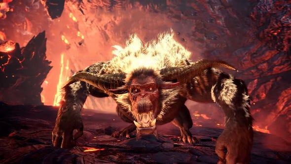 "Rajang taps into its inner Saiyan and turns golden when enraged in ""Monster Hunter World: Iceborne."""