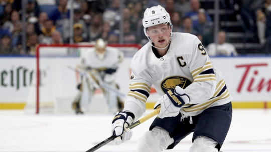 Buffalo Sabres center Jack Eichel (9) has scored at a 0.91-points-per-game clip in his four-plus seasons.