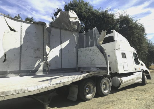 This is the big rig that was carrying pallets of clay powder when it overturned and crashed into construction vehicles on Interstate 5 between Redding and Anderson on Tuesday, Oct. 8, 2019.