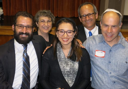 Participants at Rabbi Sydni Rubinstein's installation service: Mike Adler (clockwise, from seated far right), Rabbi Rubinstein and her husband Rabbi  Feivel Rubinstein, Rabbi Jana De Benedetti  and Rabbi Scott Meltzer, of San Diego, Calif.
