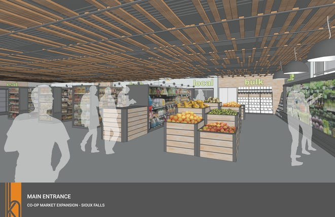 A rendering of what the new main entrance at Co-op Natural Foods in Sioux Falls will look like after the store's planned expansion in 2020.