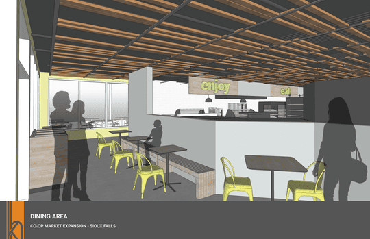 A rendering of what the new indoor dining area at Co-op Natural Foods in Sioux Falls will look like after the store's planned expansion in 2020.