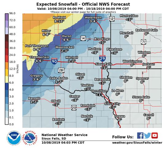 Snowfall forecast for eastern South Dakota