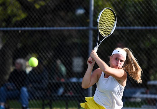 Mitchell's Kelsey Dahme hits the ball in a match against Aberdeen Roncalli during the state championship tournament on Tuesday, Oct. 8, 2019.