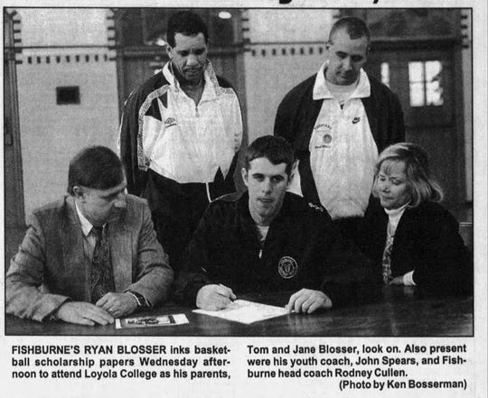 A photograph from The News Leader when Ryan Blosser signed to play basketball at Loyola.