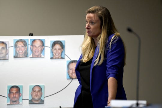 Assistant State Attorney Georgia Cappleman waits for FBI agent Pat Sanford to review a text conversation between Katherine Magbanua and Charlie Adelson Tuesday, Oct. 8, 2019. Magbanua is charged in the 2014 murder of Florida State law professor Dan Markel.