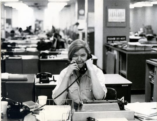 "Molly Ivins at the New York Times in a scene from ""Raise Hell: The Life and Times of Molly Ivins."""