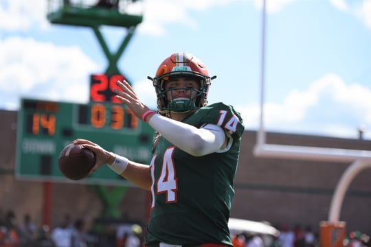 FAMU quarterback Ryan Stanley leads the MEAC with 1,281 yards. His 10 touchdown passes rank second in the league.