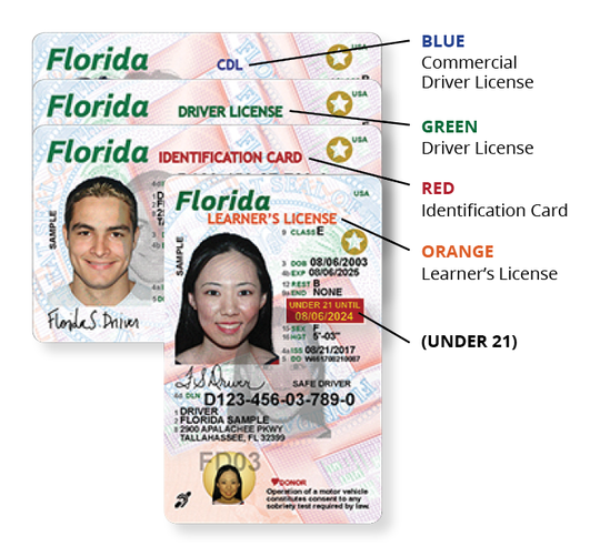 Credentials are issued with designated header colors that denote the type of license the customer holds. Credentials held by customers under 21 years of age will display a red box on the card front that indicates the date until which the customer will be under 21.