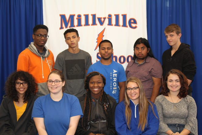 Millville Senior High School's Students of the Month for September are: (seated, from left) Ivaneidiz Dahil Gonzalez-Alejandro, Autumn Polen, Shauntazia Cornish, Hannah Butcher and Kalani Flores; and (standing, from left) Kyieem Walker, Elias Rivera, Jesus Carrero, Raul Garcia and Devan Tinney. Sahiem Quijano and Randall Newton are not pictured.