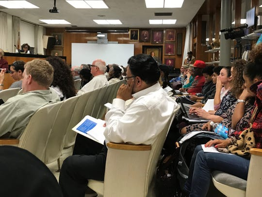 Many community members turned out to address the New Rochelle Board of Education on Monday.