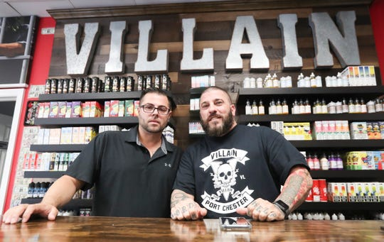Bobby Williams, left, and Jeffery Dinucci,  co-owners of Villain Vape Shop in Port Chester, photographed on Tuesday, October 8, 2019.