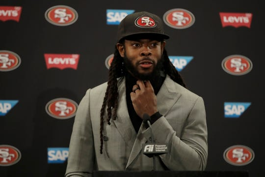 San Francisco 49ers cornerback Richard Sherman speaks at a news conference after an NFL football game against the Cleveland Browns in Santa Clara, Calif., Monday, Oct. 7, 2019.