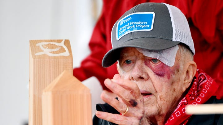 Former President Jimmy Carter at work on Oct. 7, 2019, in Nashville, Tennessee.