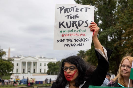 A protest at the White House on Oct. 8, 2019.