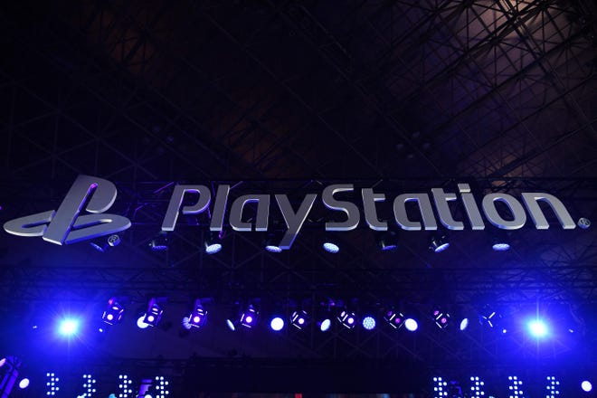 In this file photo taken on September 12, 2019 the Sony Playstation logo is seen during the Tokyo Game Show.