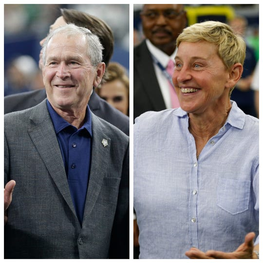 Eagle-eyed fans spotted Ellen DeGeneres sitting next to former President George W. Bush during Sunday's matchup between the Dallas Cowboys and Green Bay Packers. Some were not happy.