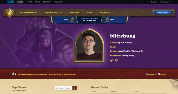 Blizzard suspends 'Hearthstone' esports athlete after his pro-Hong Kong plea on livestream