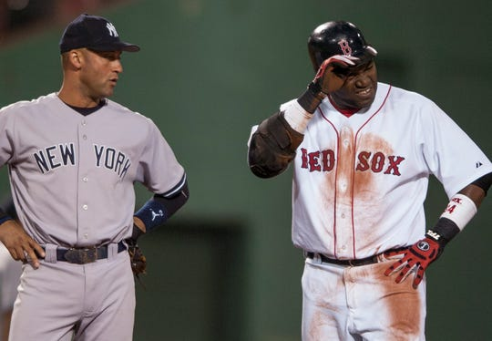 Derek Jeter and David Ortiz during a game at Fenway Park in 2006.