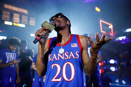 Snoop Dogg performs for the Allen Fieldhouse crowd during Late Night in the Phog event.