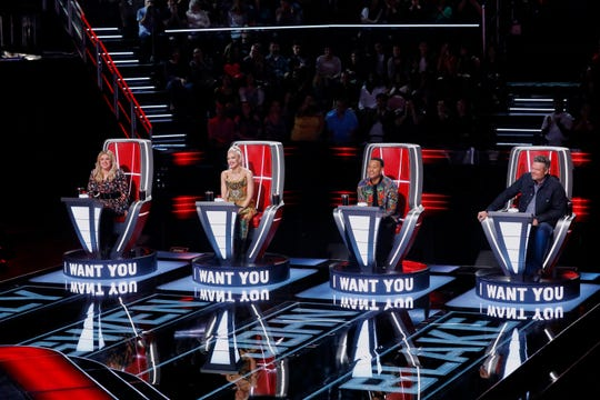 """The Voice"" coaches Kelly Clarkson, Gwen Stefani, John Legend and Blake Shelton."