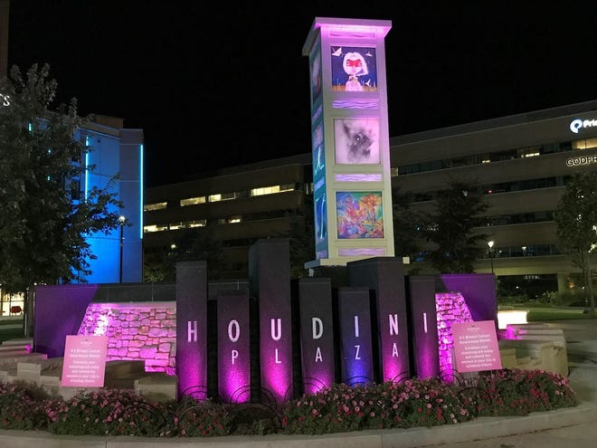 Houdini Plaza will have a nightly splash of pink through the remainder of October.