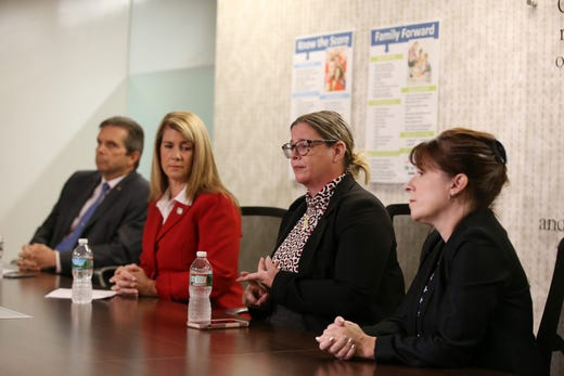 (L-R) Gerald Scharfenberger, Republican, Serena DiMaso, Republican incumbent, Allison Friedman, Democrat, and Barbara Singer, Democrat, discuss issues which are important to them during an editorial board meeting with the 13th District Assembly candidates at the Asbury Park Press in Neptune, NJ Thursday, October 3, 2019.