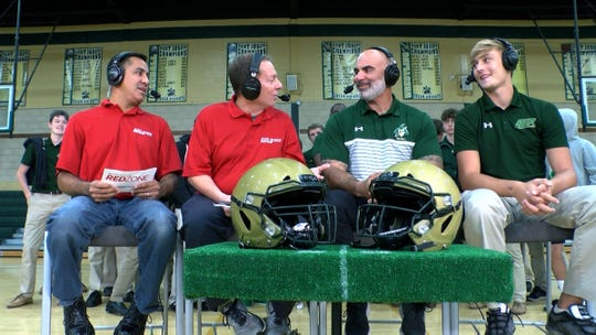 Red Zone Road Show hosts David Rivera and Greg Mattura speaks with St. Joseph's High School football coach Augie Hoffman and quarterback Michael Alaimo during a taping of the show in Montvale Tuesday, October 8, 2019.  They face Bergen Catholic in the Red Zone Game of the Week Saturday.