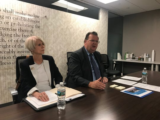 "Incumbent Ocean County Freeholder Director Virginia ""Ginny"" Haines and Freeholder John P. ""Jack"" Kelly, both Republicans, are seeking re-election. They are shown on Oct. 8, 2019, in the Asbury Park Press newsroom."