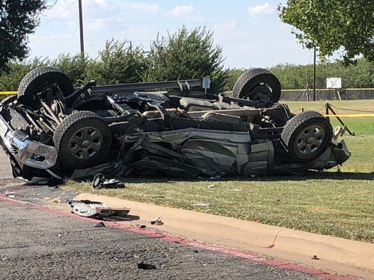 One of the vehicles involved in a multi-vehicle wreck at the Abilene Christian High School parking lot Wednesday.