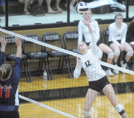 Clyde setter Haley Hanson attempts a kill against Jim Ned on Tuesday, Oct. 8, 2019, at Clyde High School.