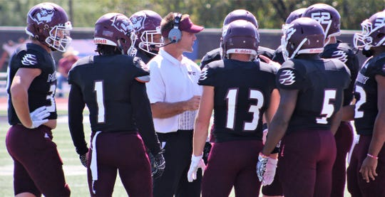 McMurry War Hawks coaches were challenged to keep their players from becoming discouraged during Saturday's 79-0 loss to No. 1 Mary Hardin-Baylor. They changes of possession to motivate their team. Oct. 5 2019