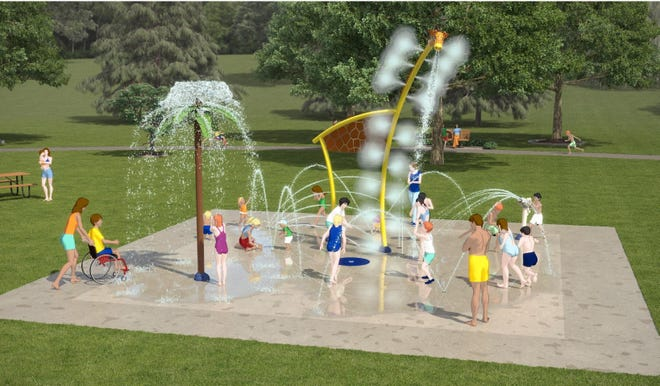 An artist rendering of the proposed splash pad at Claude Evans Park.