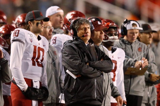 Washington State head coach Mike Leach looks on in the first half of an NCAA college football game against Utah Saturday, Sept. 28, 2019, in Salt Lake City.