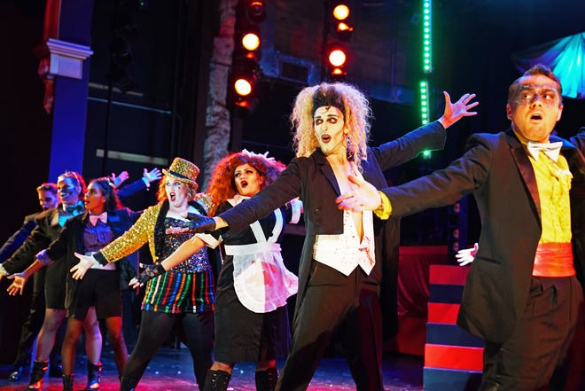 The cast does the Time Warp in 'The Rocky Horror Show,' live on stage at the Henegar Center in downtown Melbourne in 2019.
