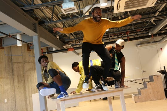 "The cast of ""Esai's Table"" - from left to right, Cornelius Davidson, Dimitri Carter, Benton Greene and Marcus Gladney Jr. - rehearses for the JAG Productions play that runs Oct. 10-27 in White River Junction."