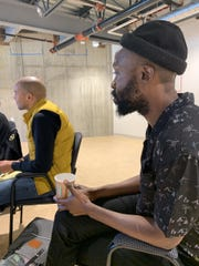 "Jarvis Green, who founded JAG Productions, sits in during a table read of ""Esai's Table."" Sept. 18, 2019."