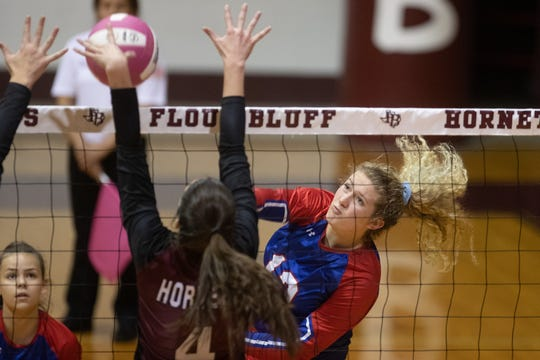 Gregory-Portland's volleyball team defeats Flour Bluff in three sets at Flour Bluff High School on Tuesday, Oct. 8, 2019.