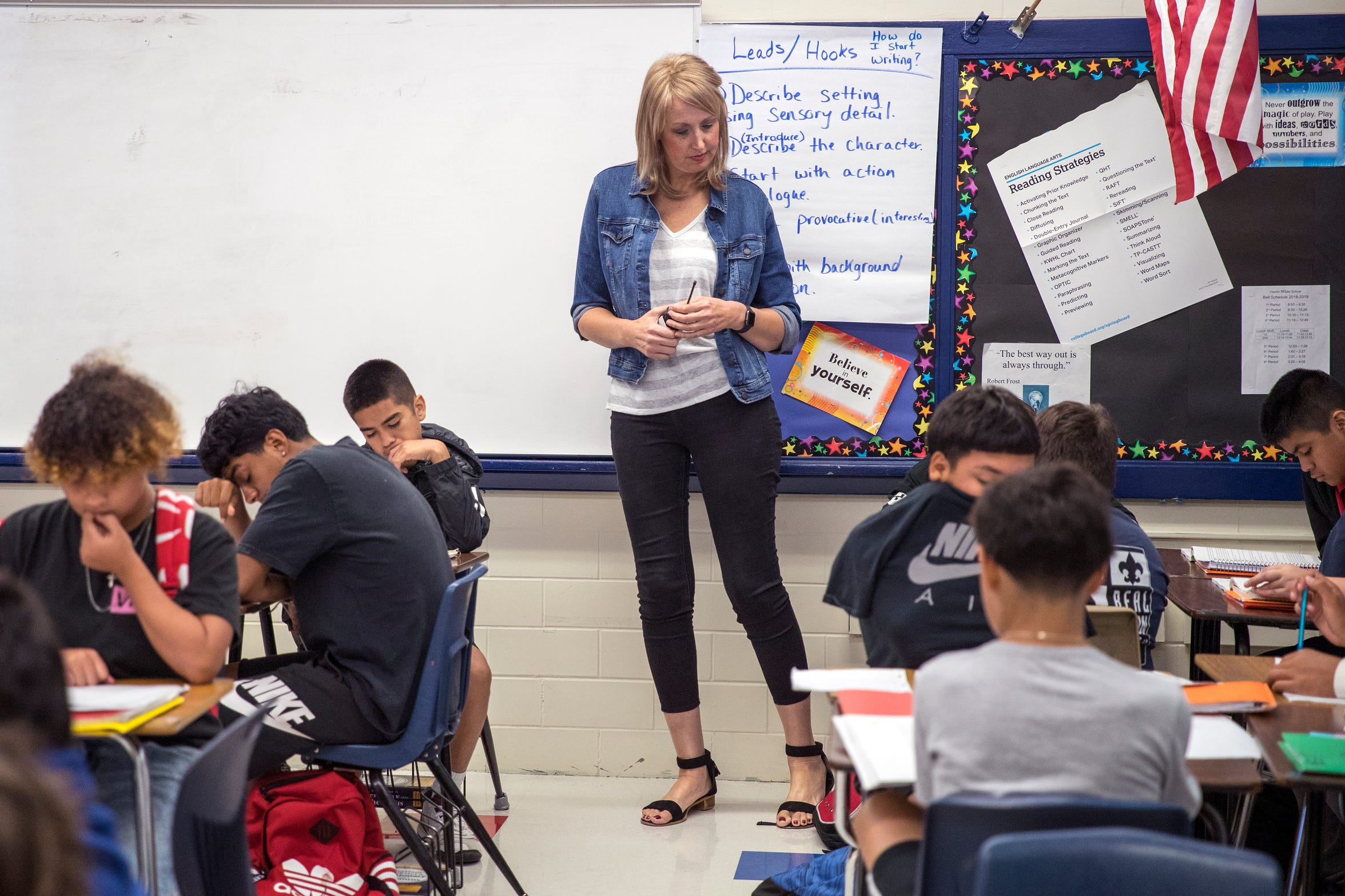 Prudence Farrell, principal of Hamlin Middle School, observes a class on Tuesday, October 8, 2019. Farrell was was diagnosed with an aggressive form of breast cancer shortly after turning 40. She completed her final chemotherapy treatment a couple of weeks ago and will undergo surgery later this year. She's been open with the students about her diagnosis.