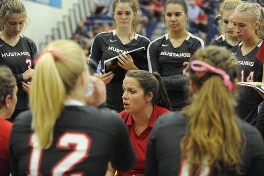 Westfall head coach Jessica Sullivan talks to team during a 3-0 loss to Adena on Tuesday, Oct. 8, 2019 at Adena High School in Frankfort, Ohio.